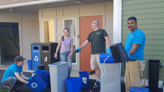 F&G crew rinsing bins